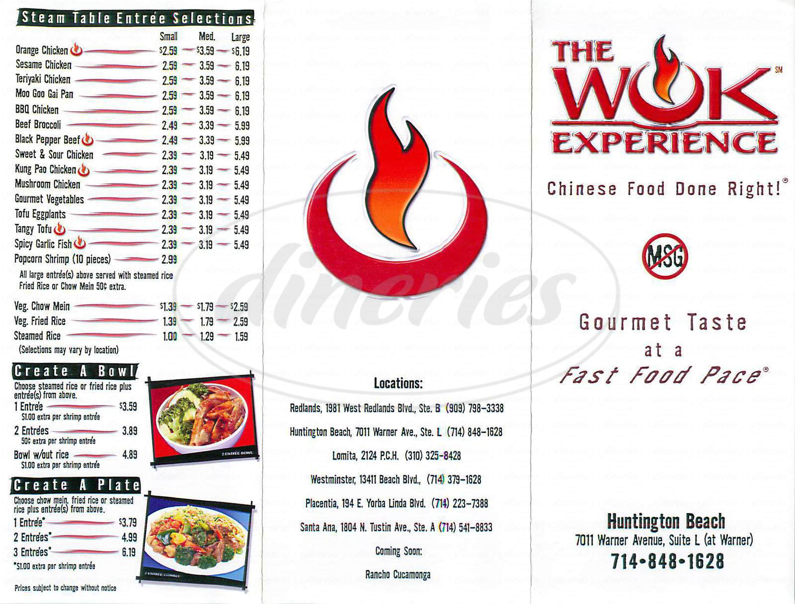 menu for The Wok Experience