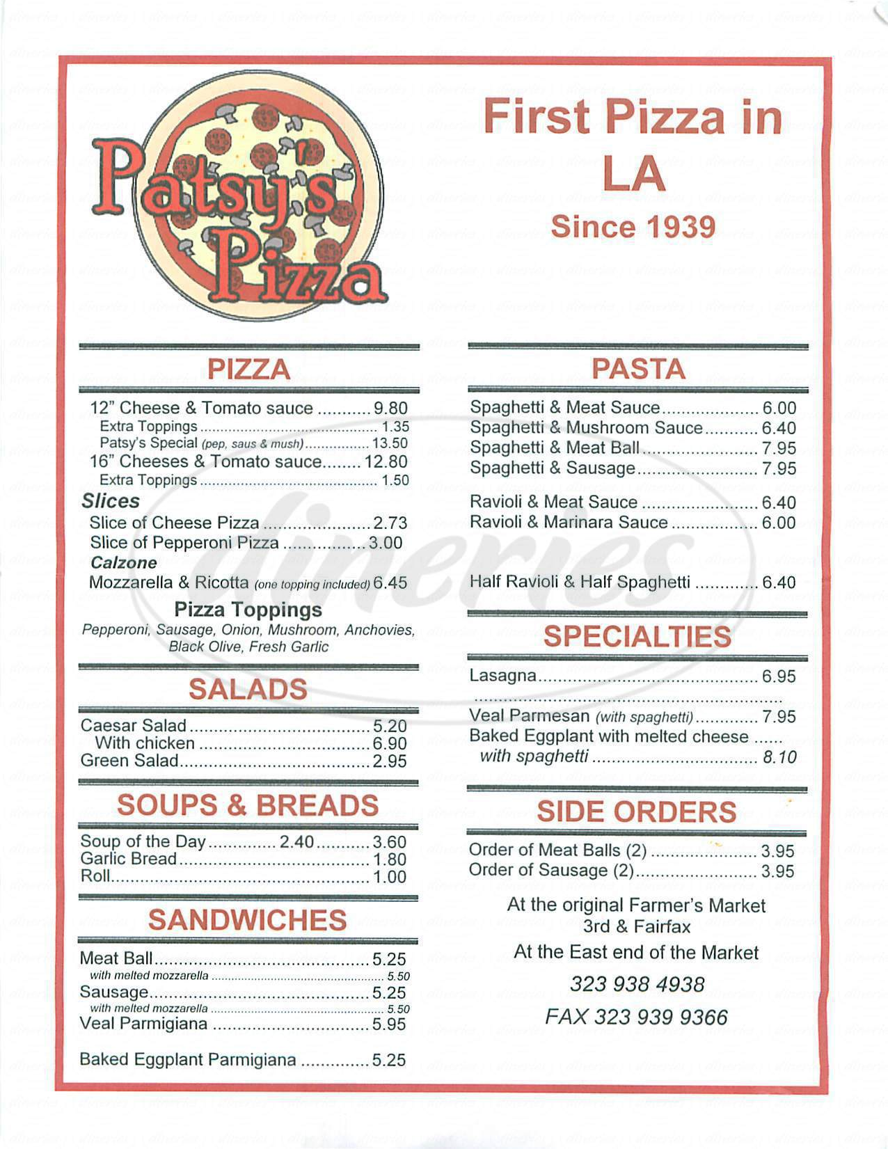 menu for Patsys Pizza
