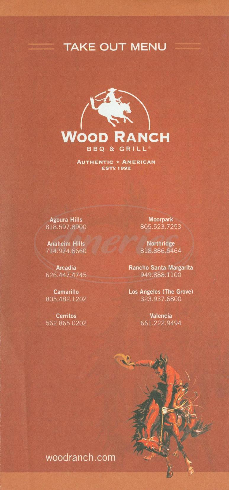 menu for Wood Ranch BBQ & Grill