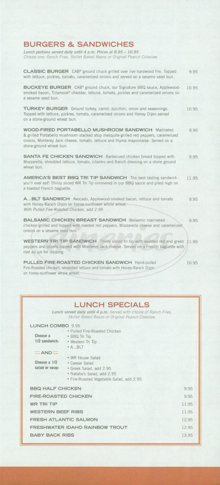 menu for Wood Ranch BBQ & Grill