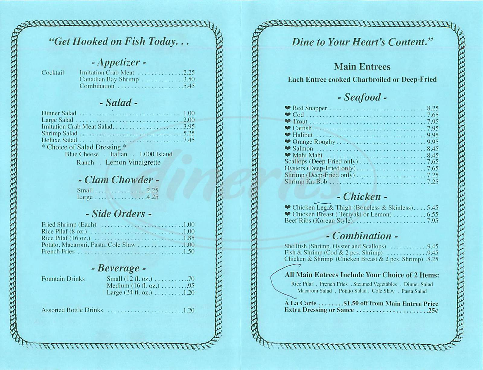 menu for Rockys Fish & Poultry