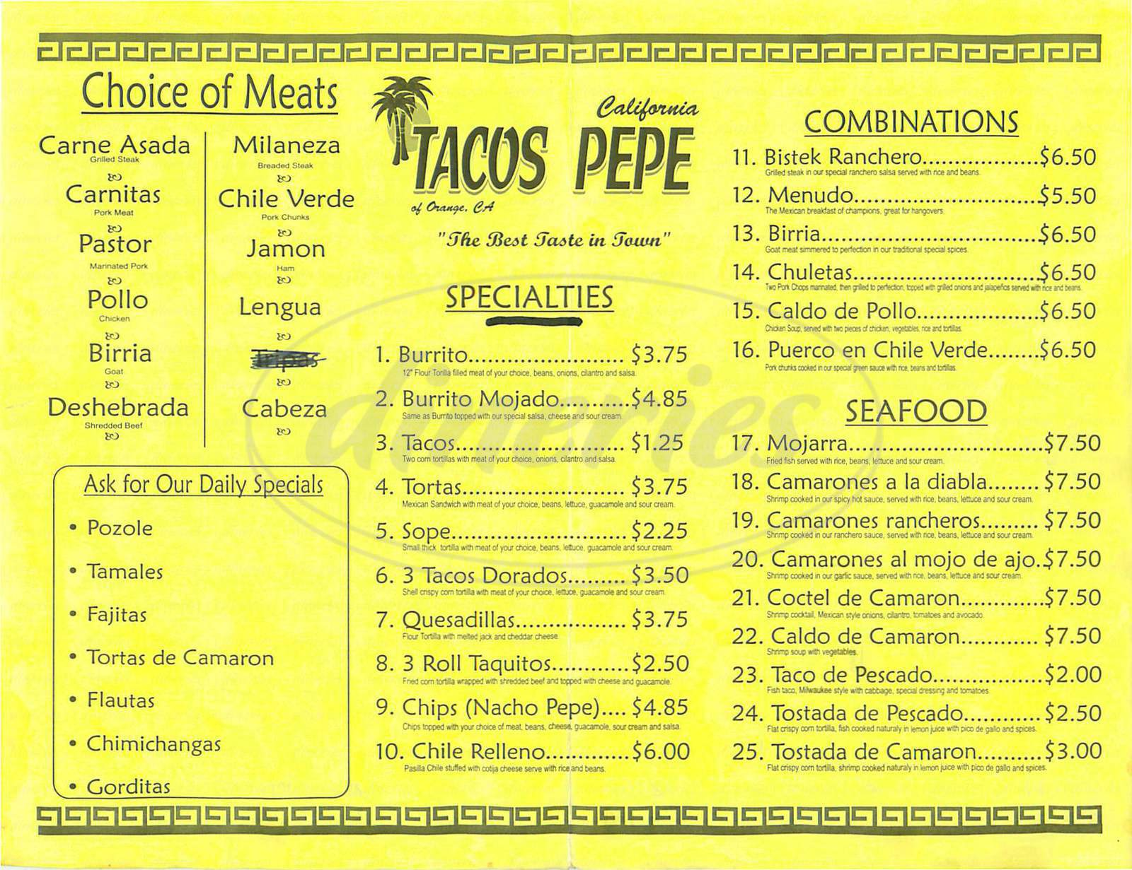 menu for Tacos Pepe