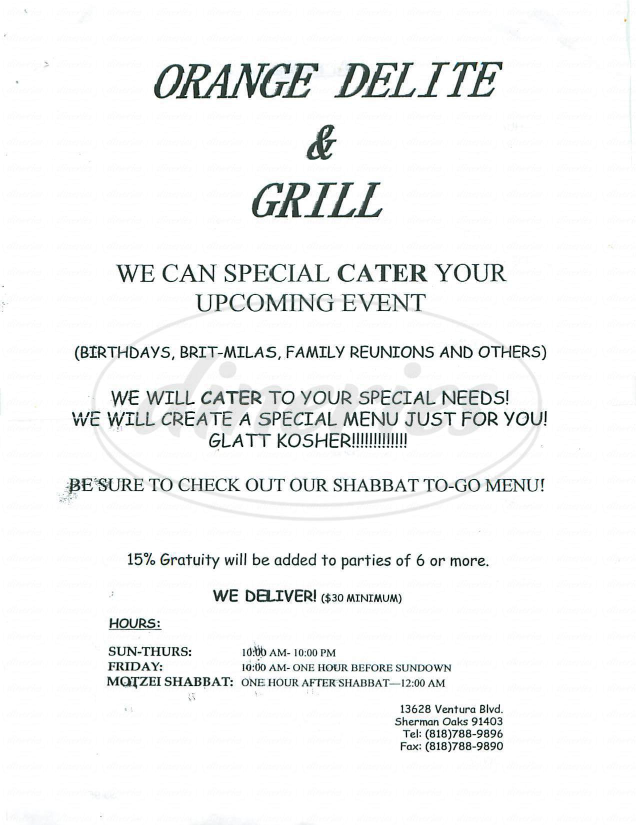 menu for Orange Delite & Grill