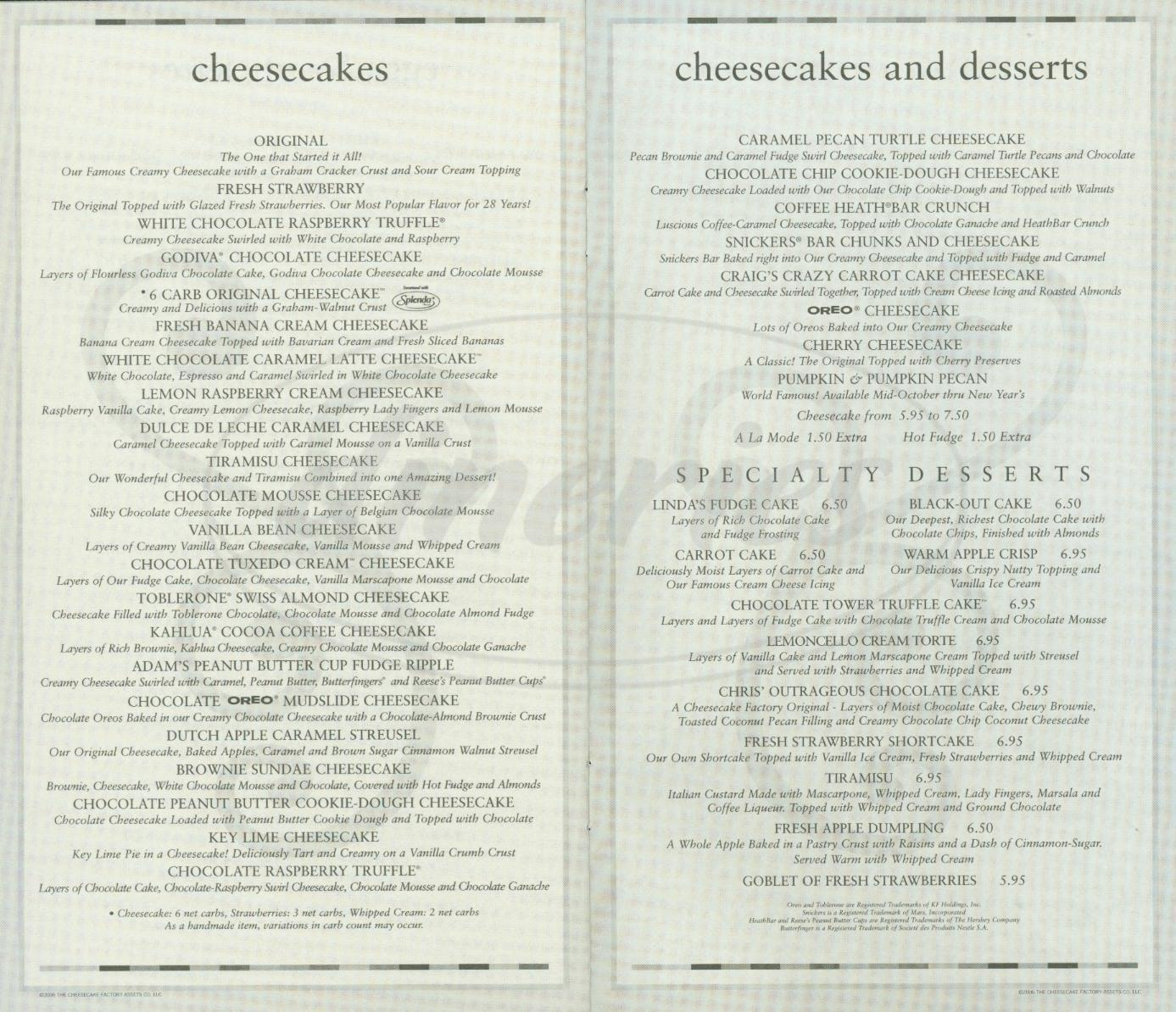 Menu for The Cheesecake Factory: Reviews and photos of Shrimp Scampi, Chicken Bellagio, Miso Salmon* Skip to Search Form Take Out Menu; Small Plates & Snacks Stuffed Mushrooms. Fontina and Parmesan Cheese, Garlic and Herbs in a Wine Sauce. 8 reviews.