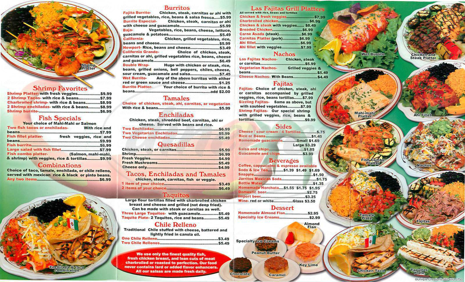 menu for Las Fajitas Grill
