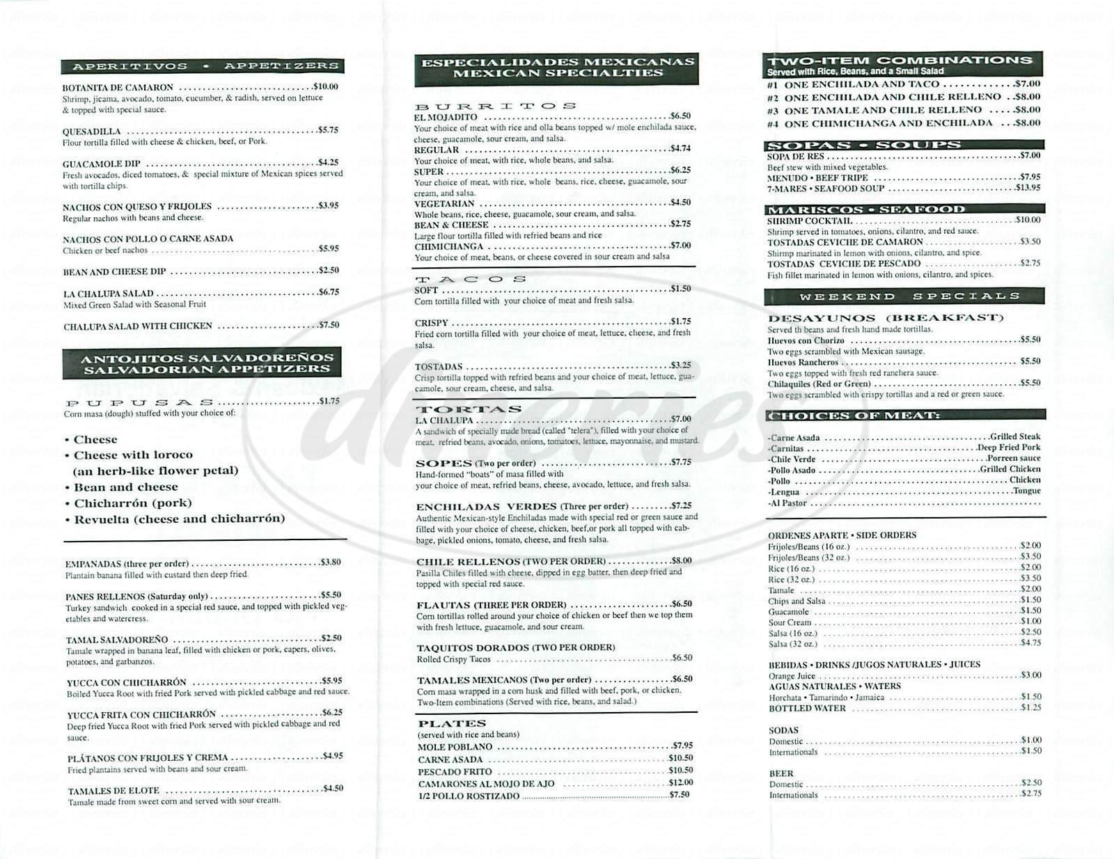 menu for La Chalupa