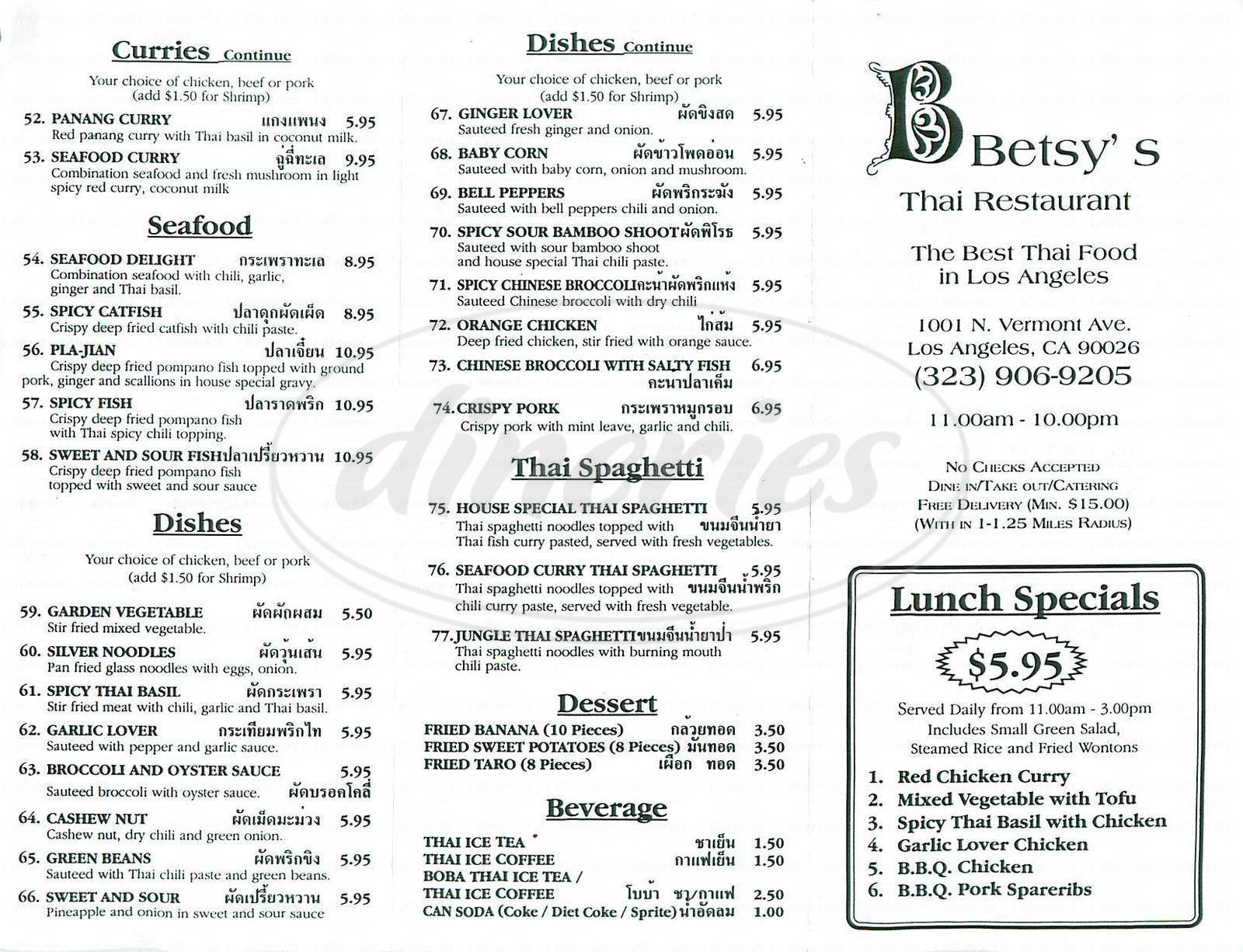 menu for Betsy's Thai Restaurant