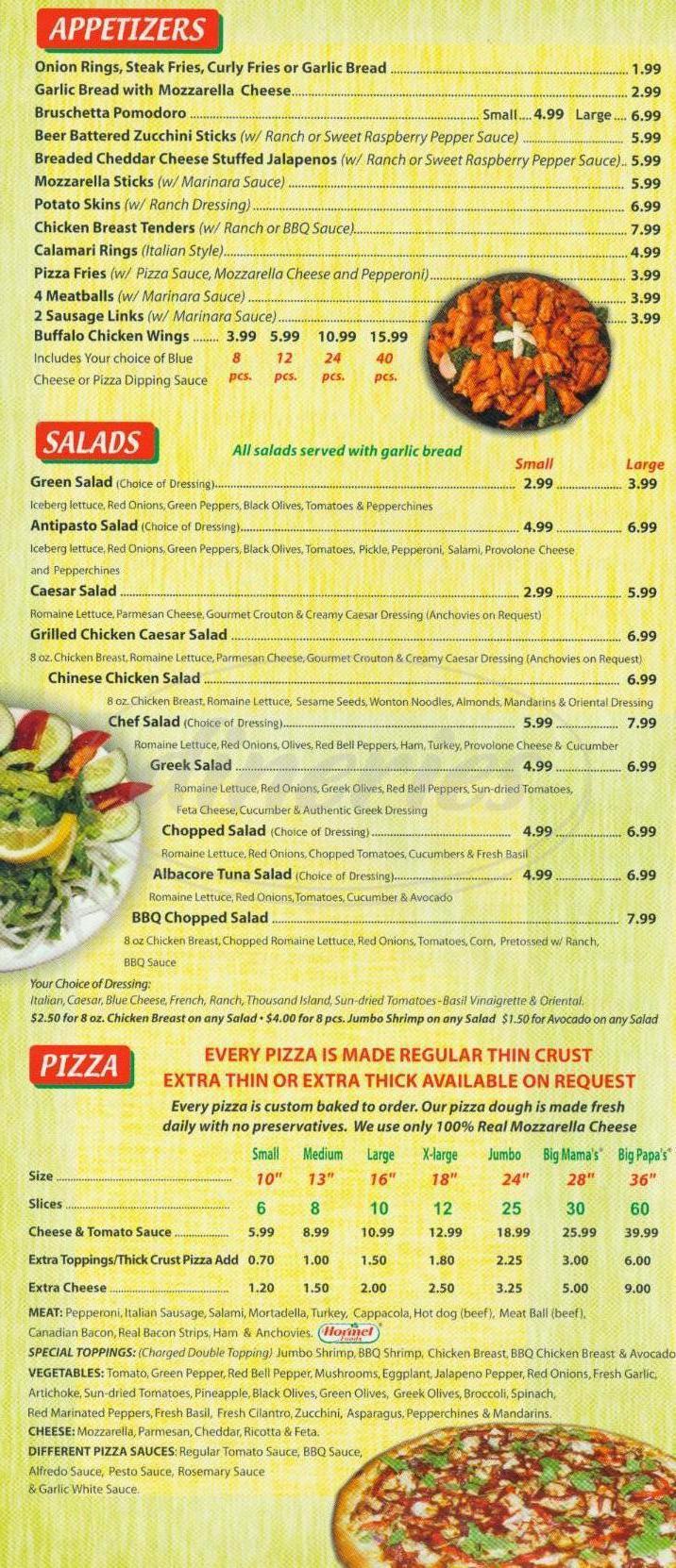 Big menu for Big Mamas & Papas Pizzeria, Los Angeles