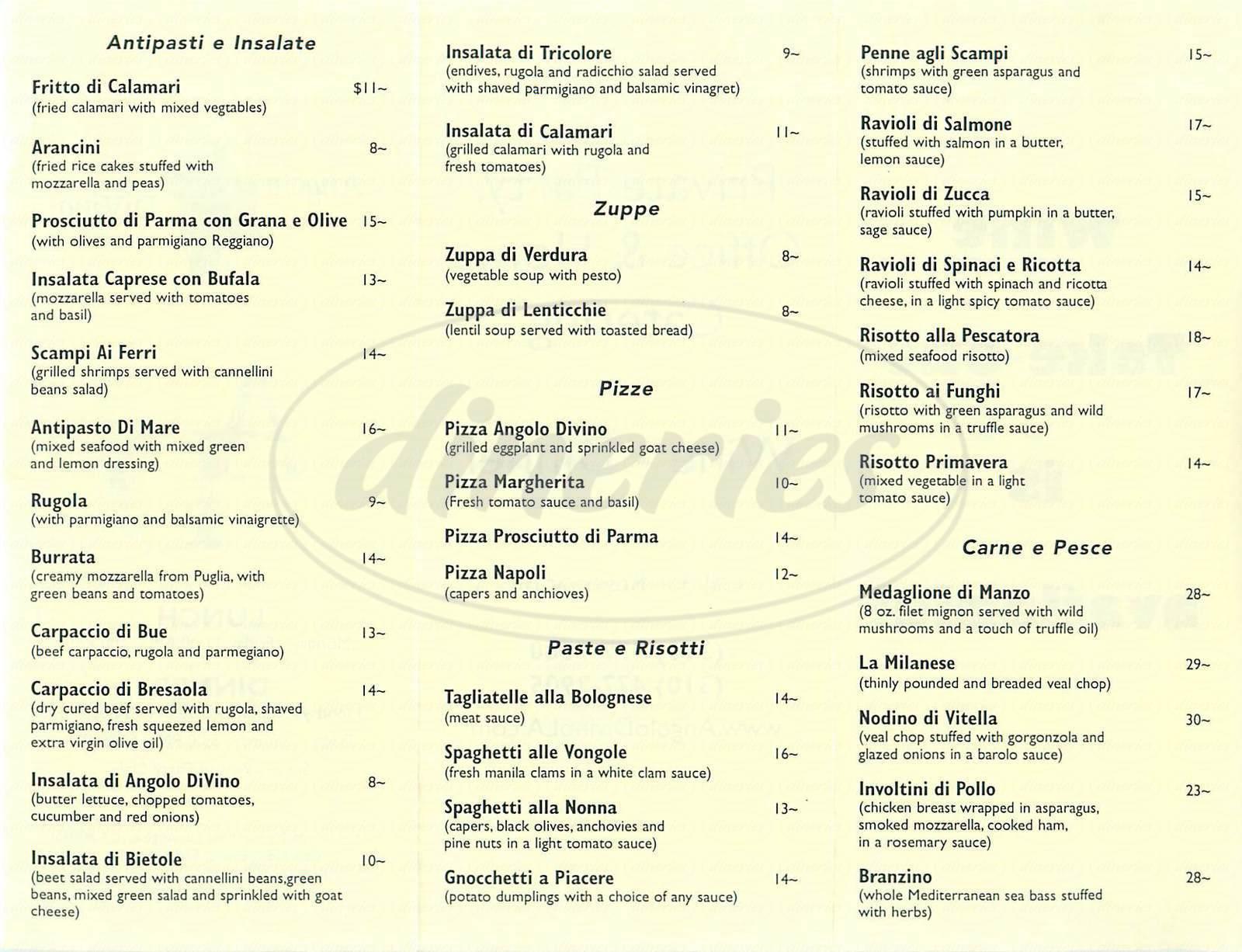 menu for Angolo Divino