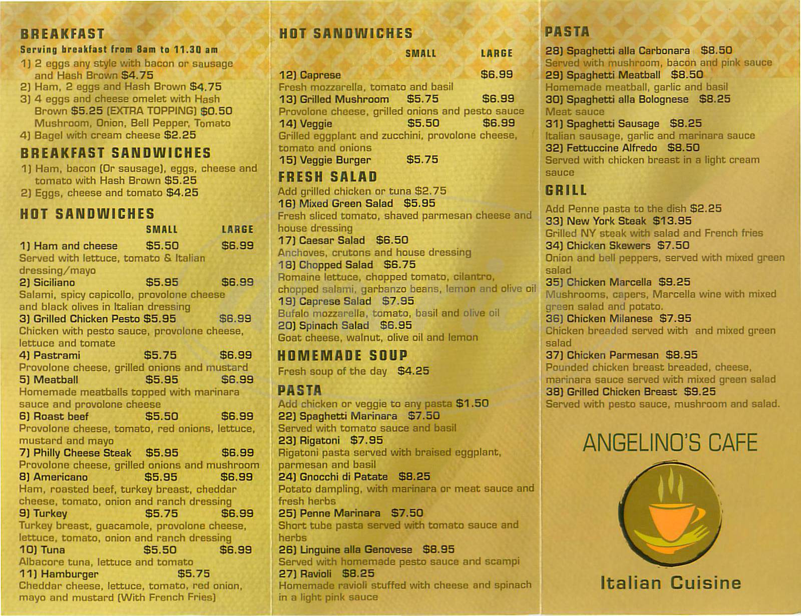 menu for Angelino's Café