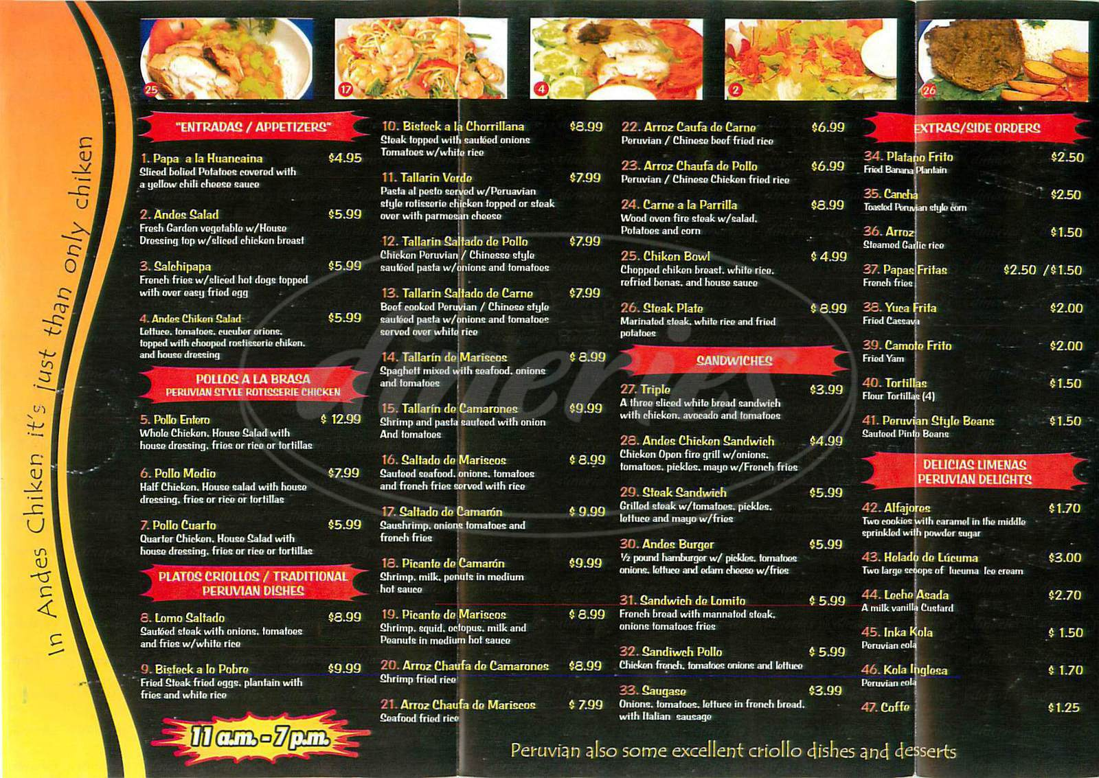 menu for Andes Chicken