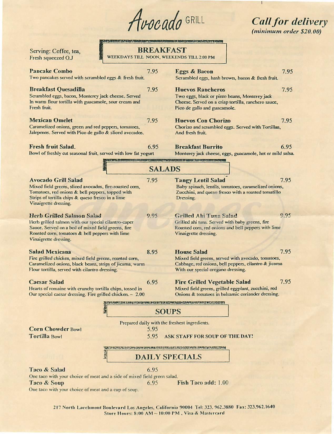 menu for Avocado Grill