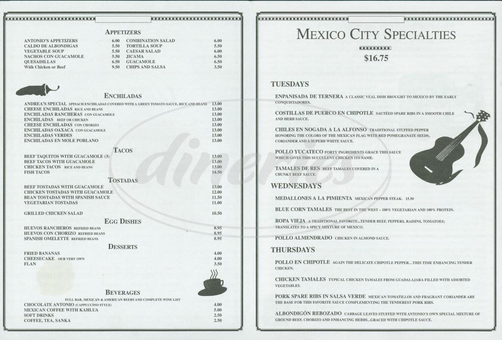 menu for Antonios Restaurant