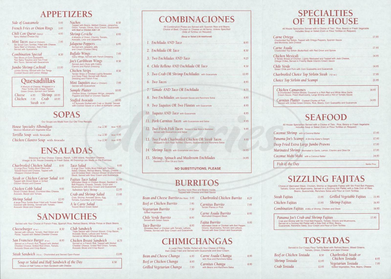 menu for Panama Joe's