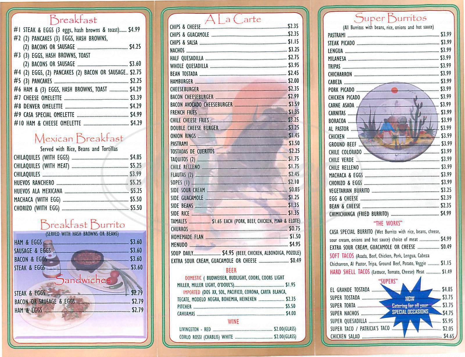 menu for Patricia's Restaurant