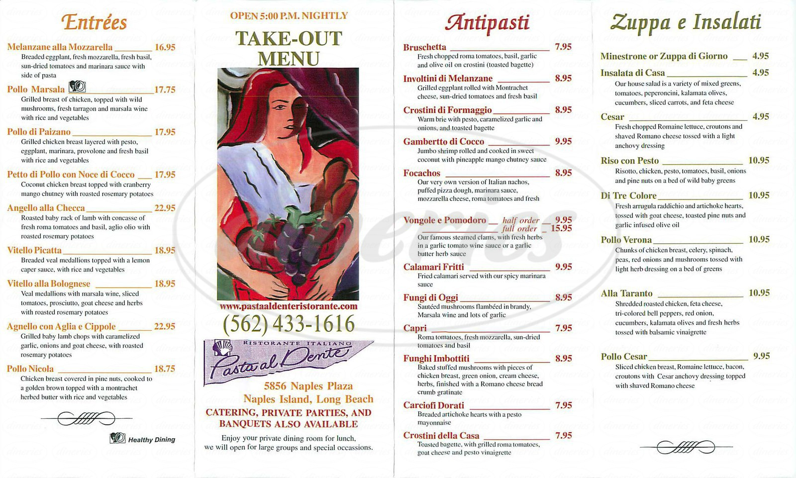 menu for Pasta al Dente