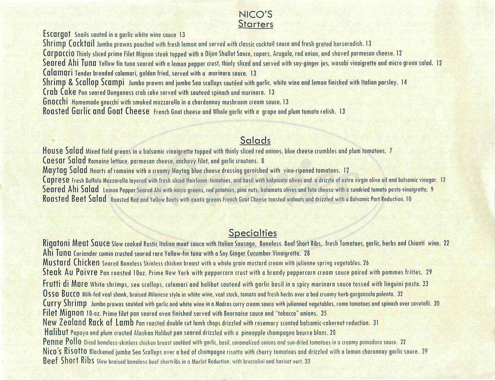 menu for Nico's