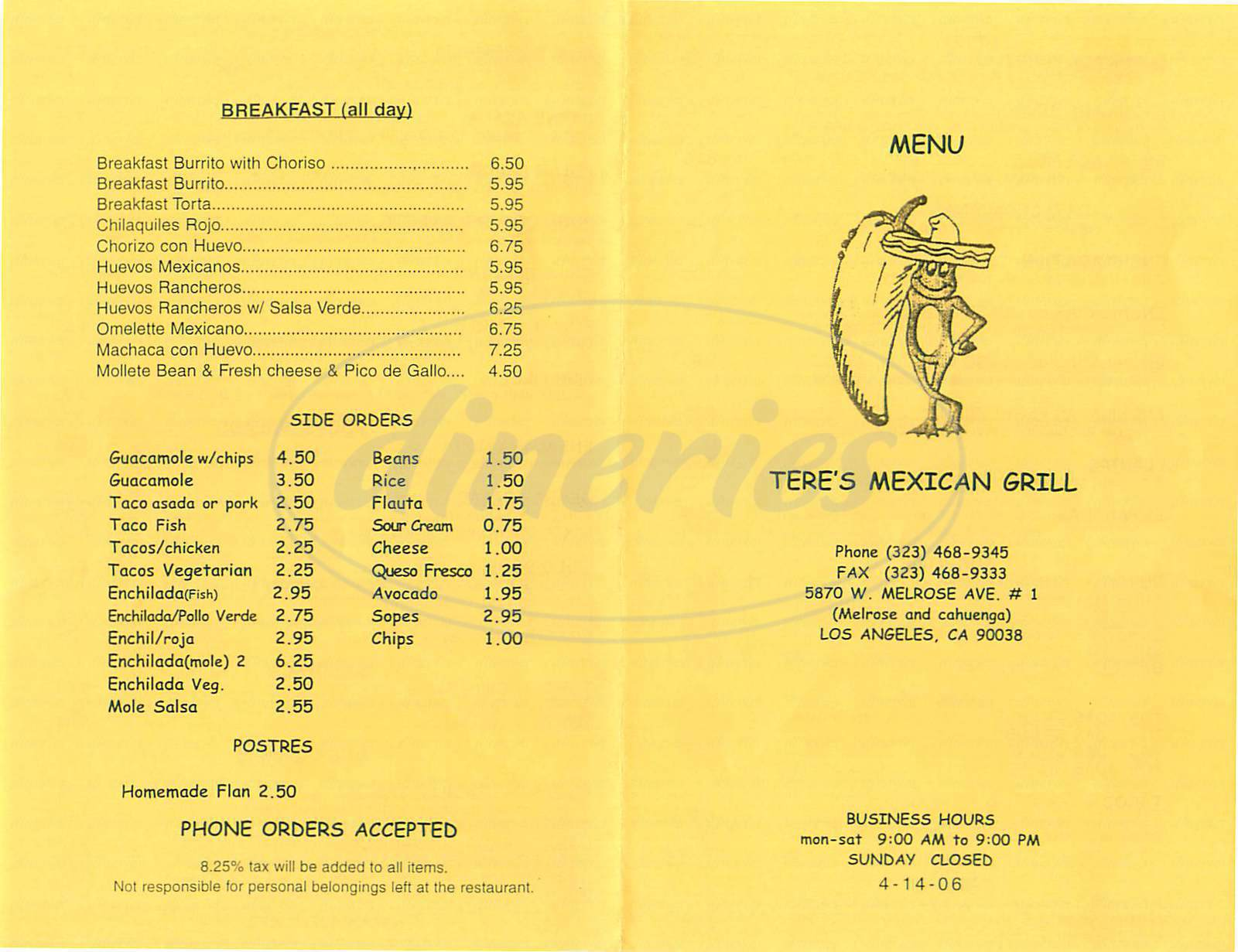 menu for Tere's Mexican Grill