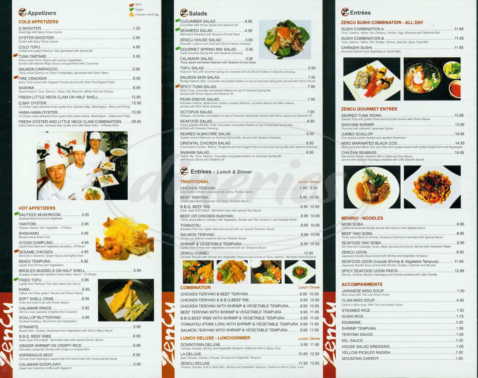 menu for Zencu Sushi & Grill