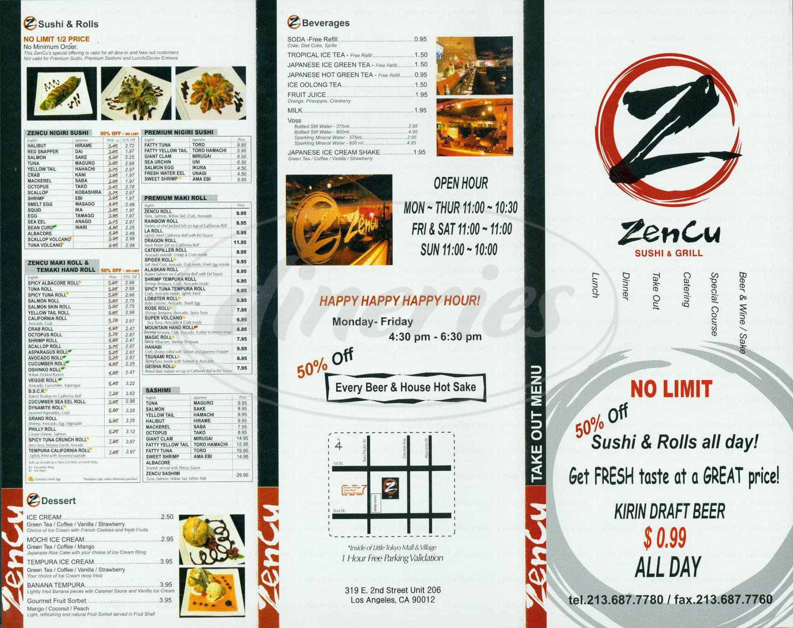menu for Zencu Sushi & Grill