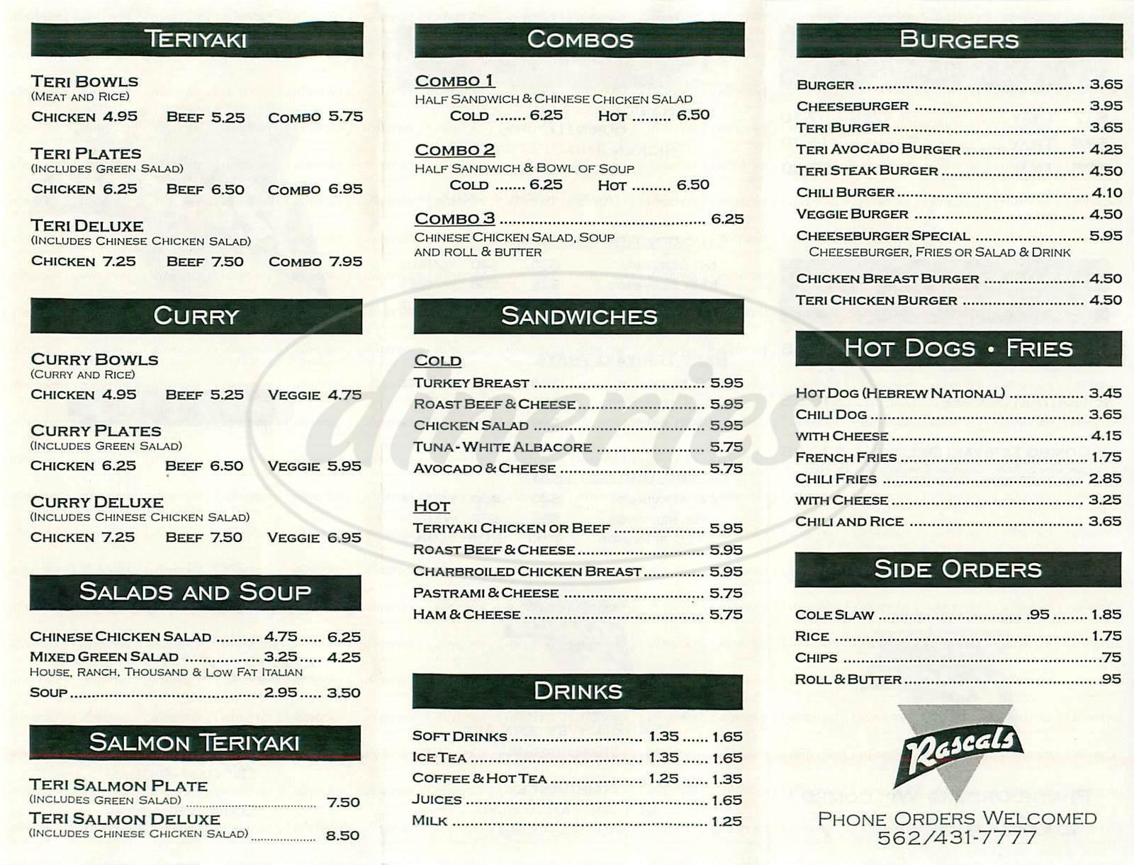 menu for Rascals Teriyaki Grill