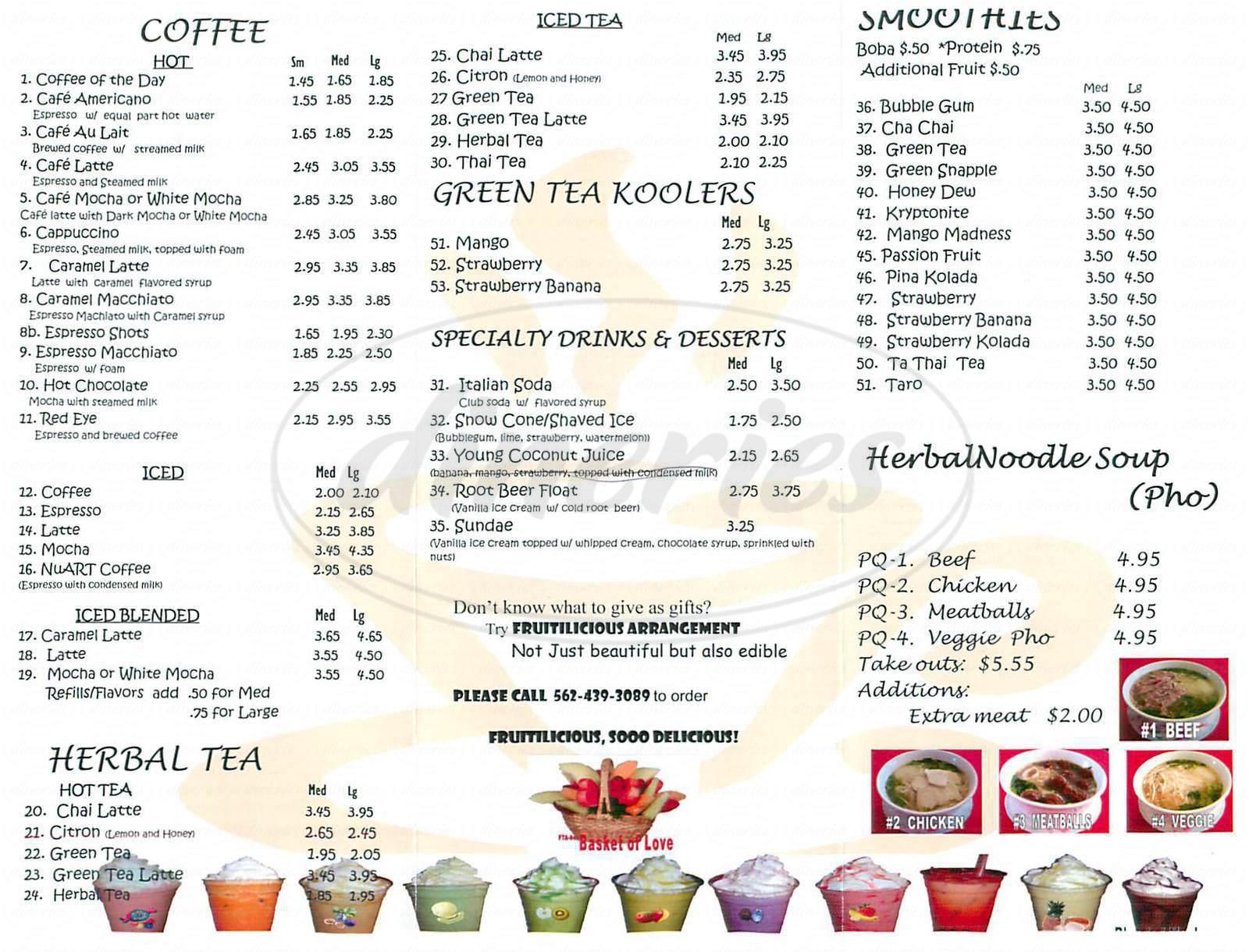 menu for NuArt Café