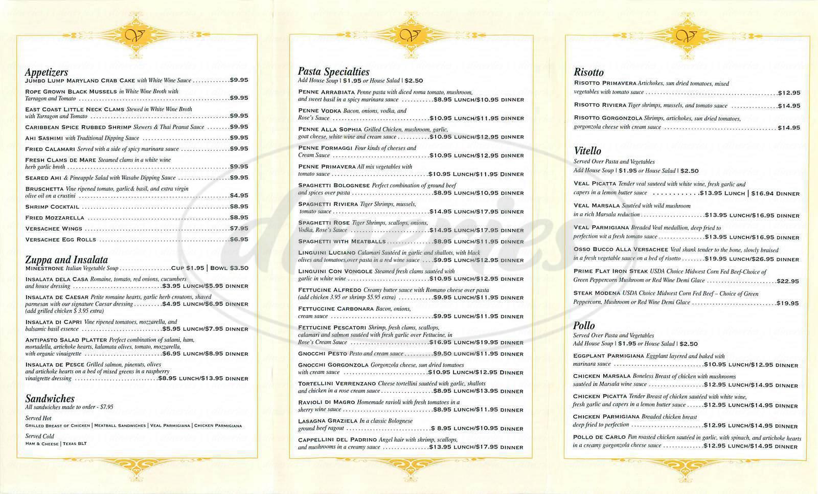 menu for Versachee