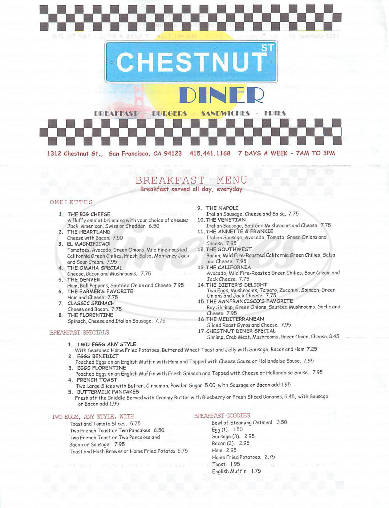 menu for Chestnut Diner