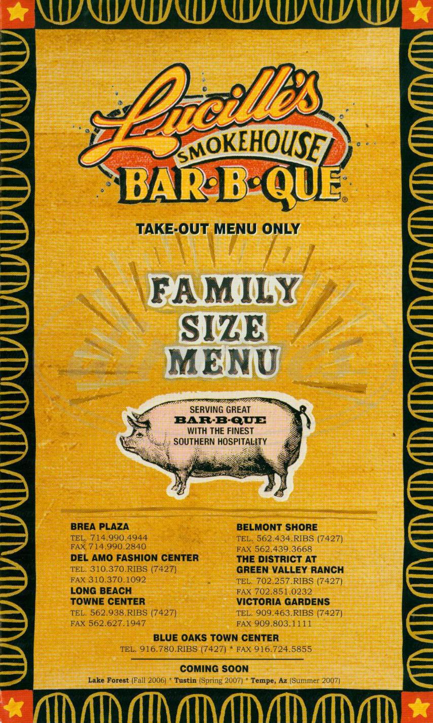 menu for Lucille's Smokehouse Bar B Que