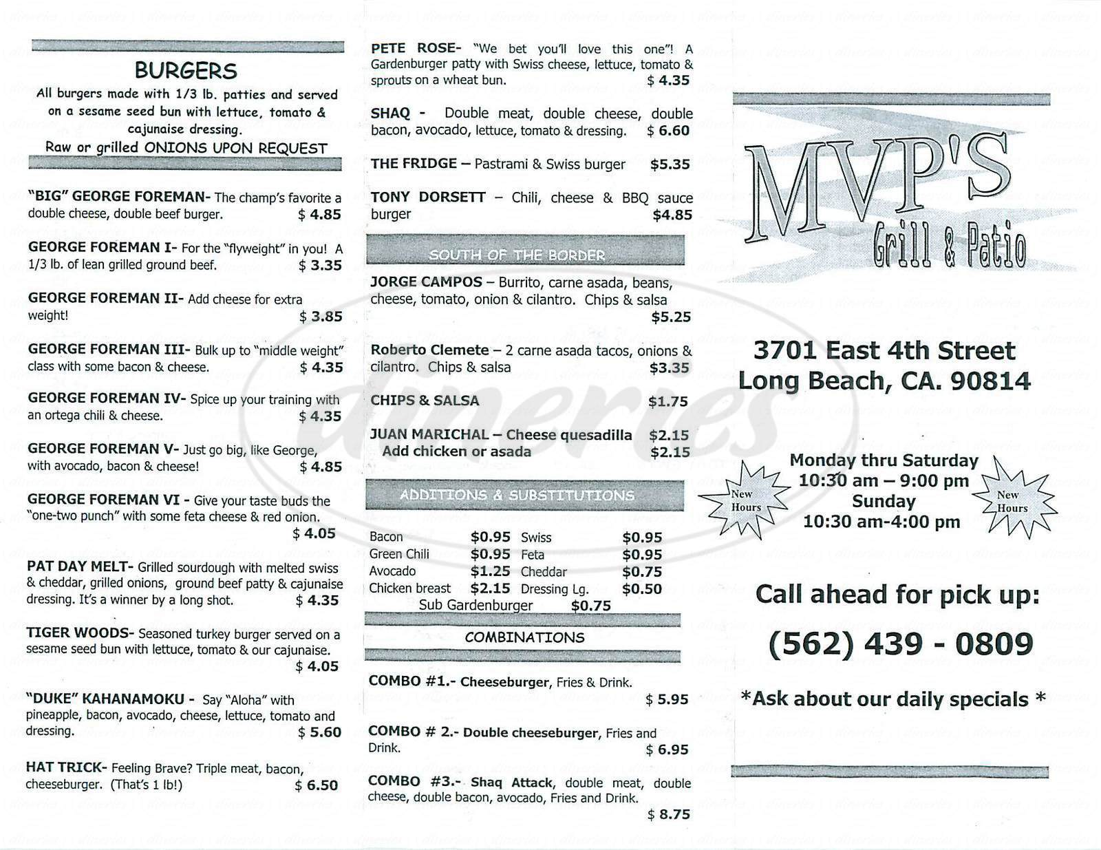 MVP s Grill & Patio Menu Long Beach Dineries