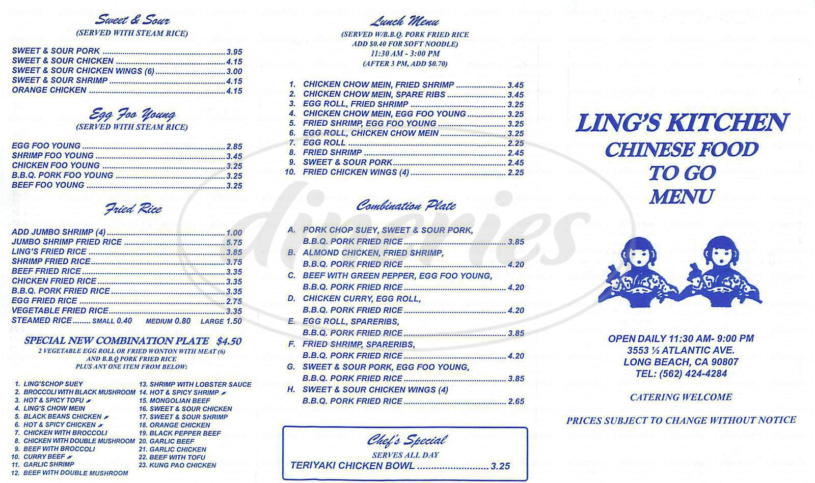 menu for Ling's Kitchen