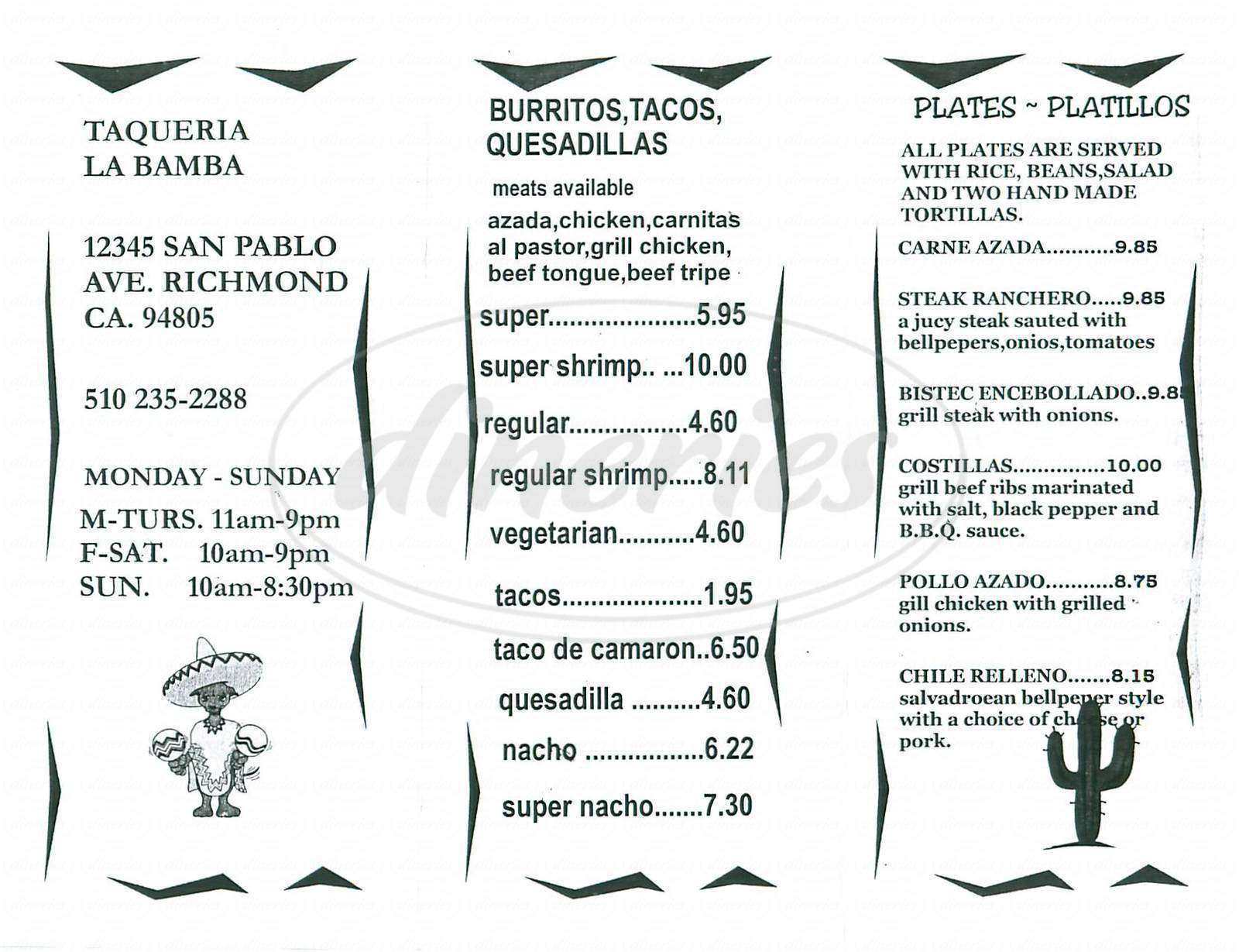 menu for Taqueria la Bamba