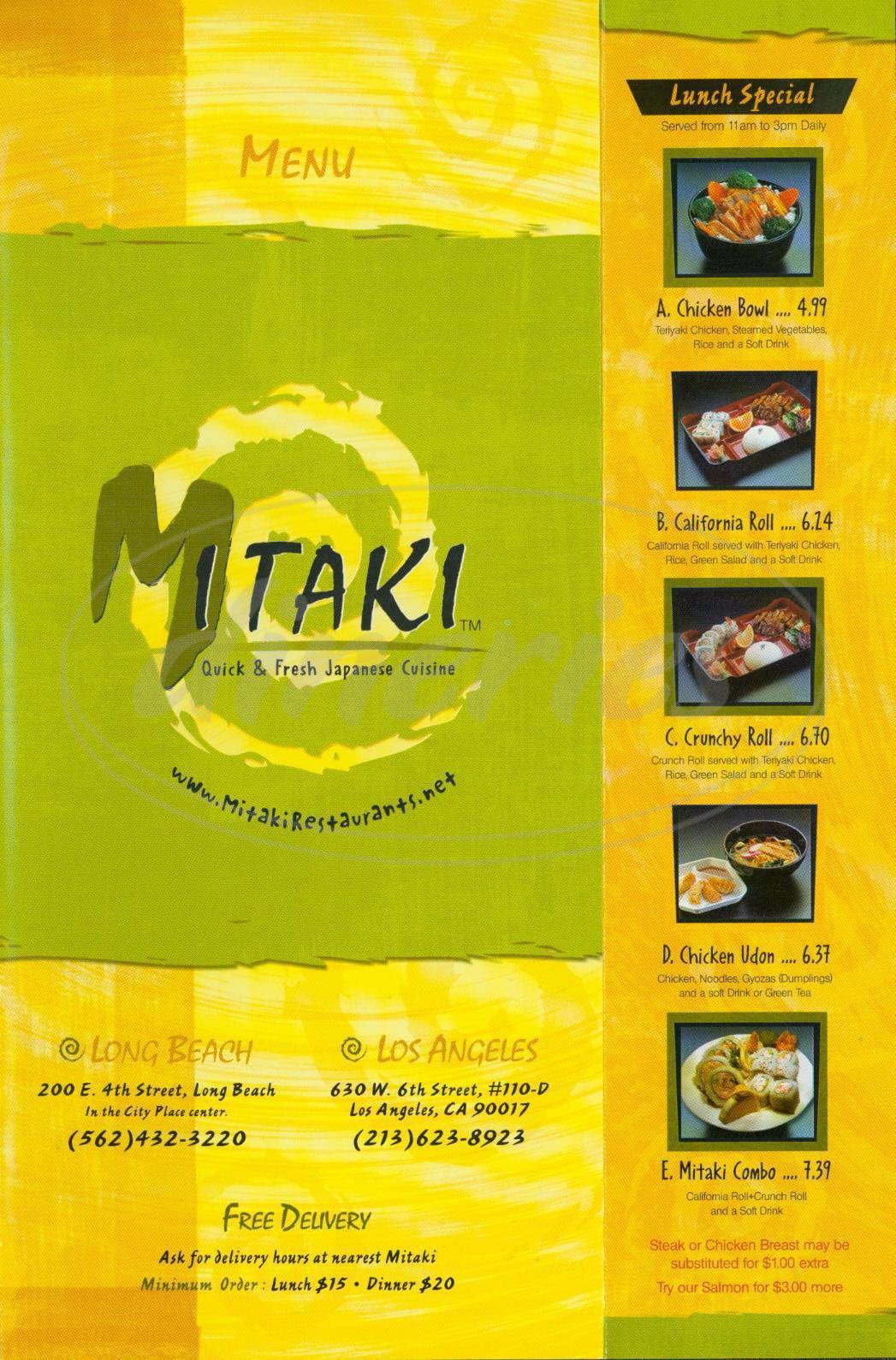 menu for Mitaki Japanese Restaurant