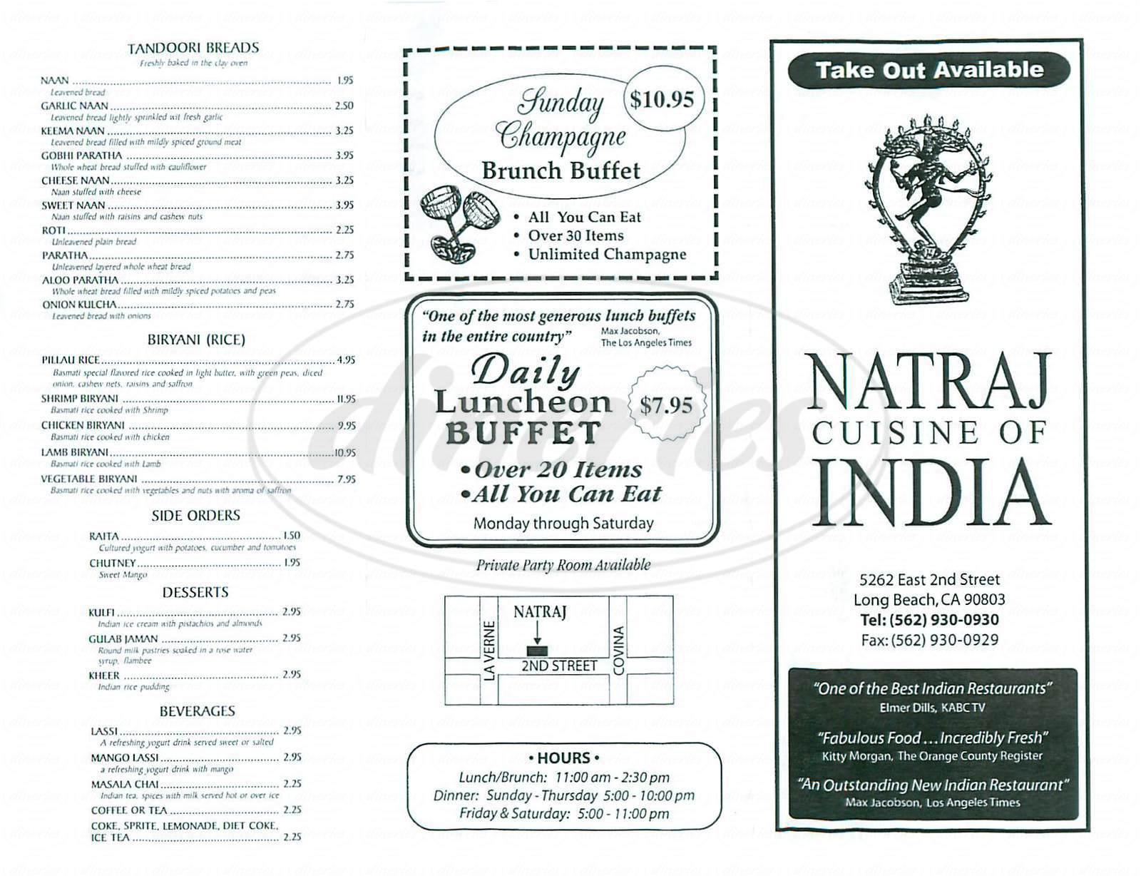 menu for Natraj Cuisine of India