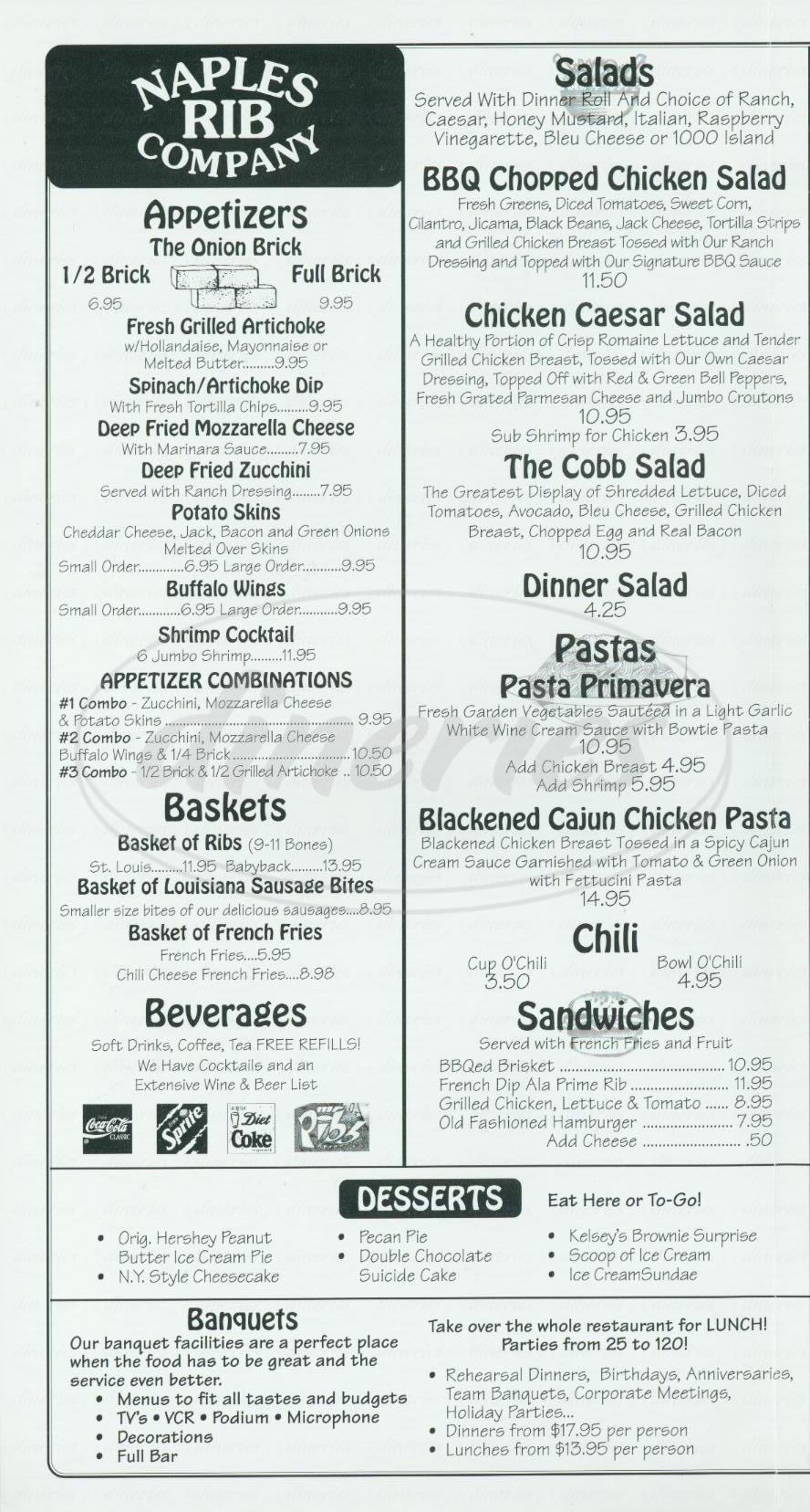 menu for Naples Rib Company