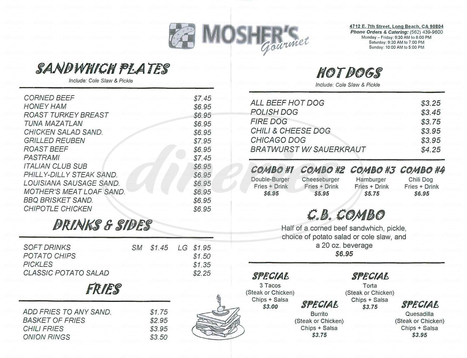 menu for Moshers Gourmet