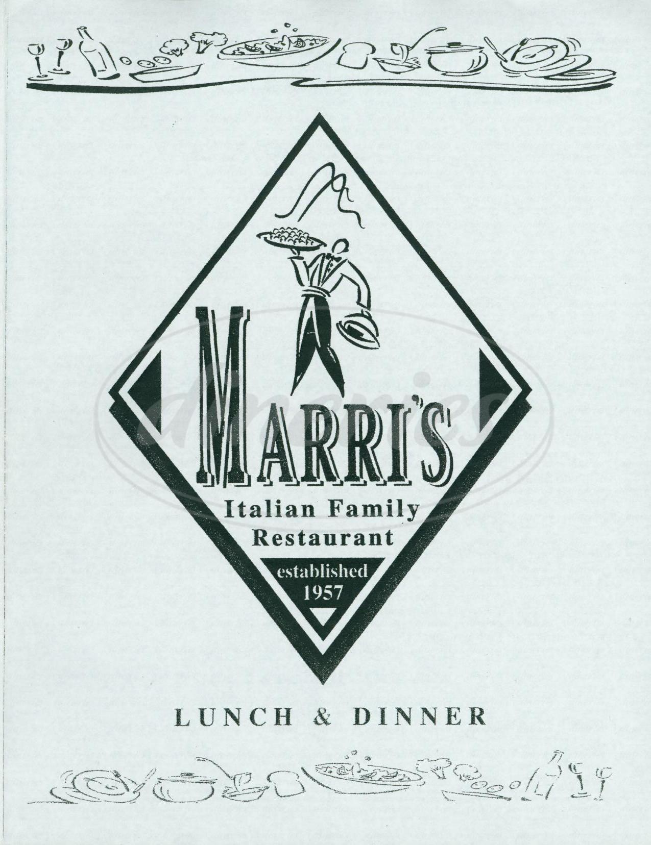 menu for Marri's Italian Restaurant