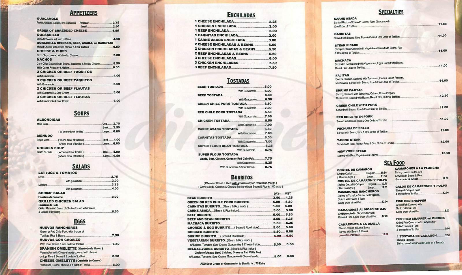 menu for Mi Lupita