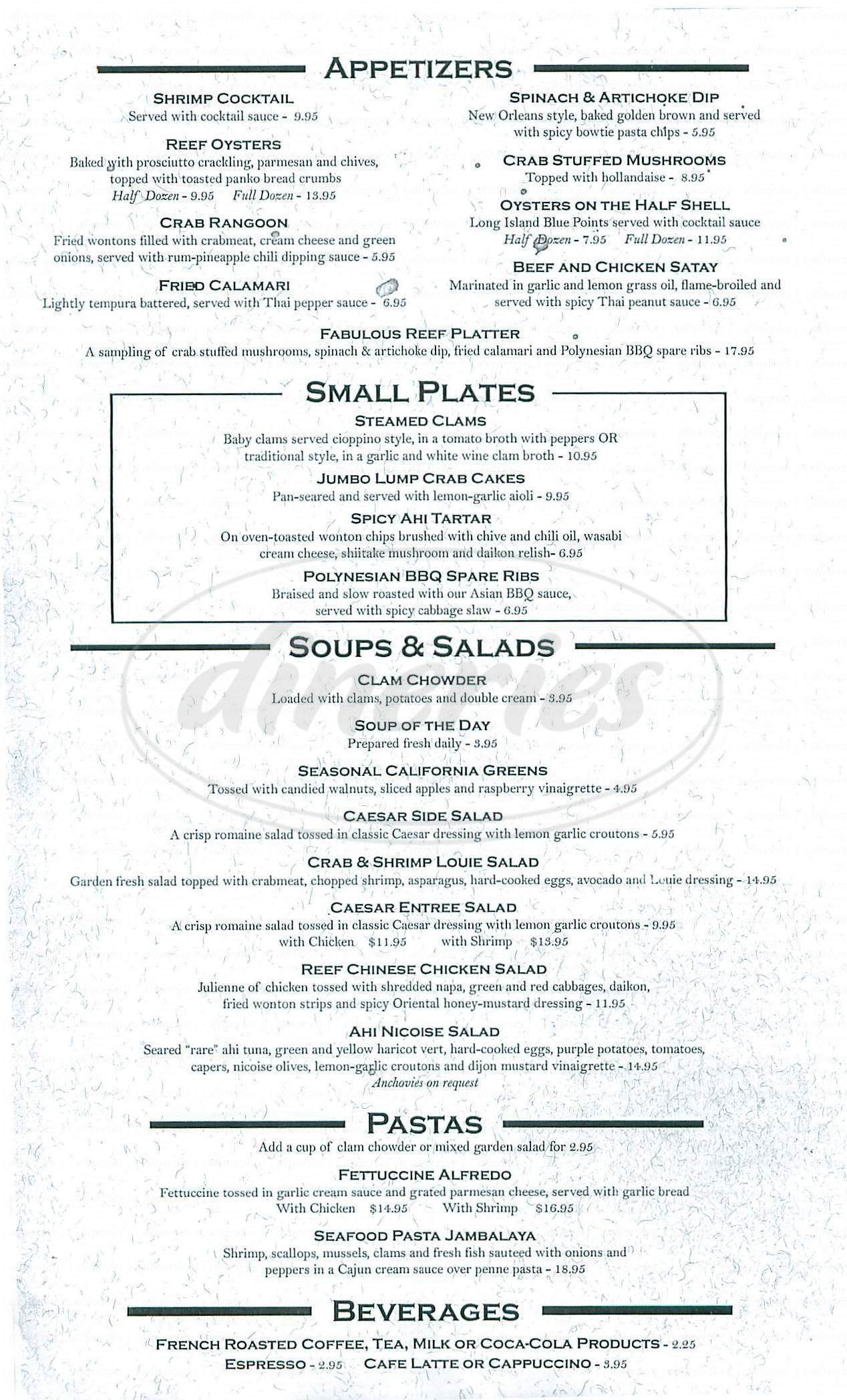 menu for The Reef