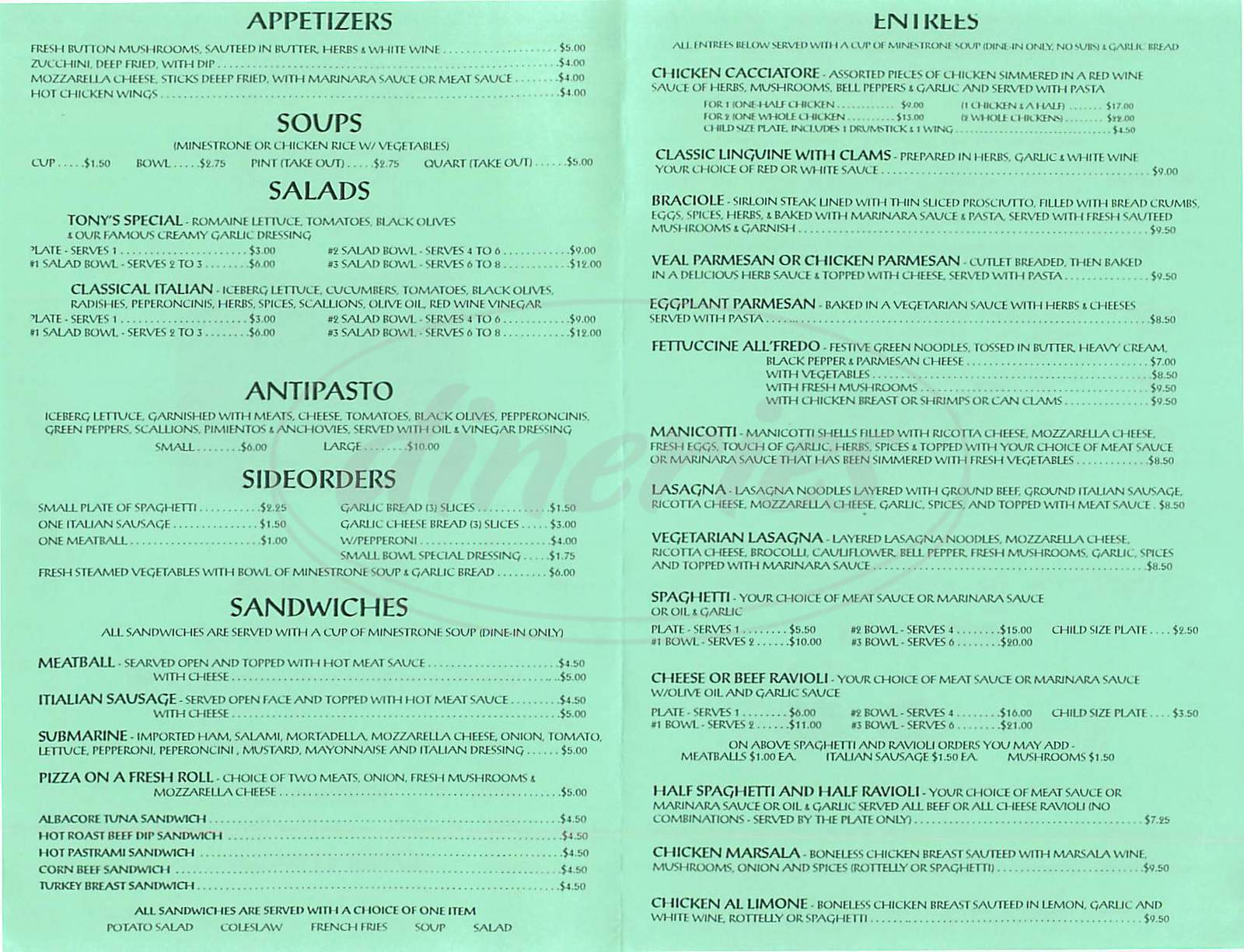 menu for Tony's Italian Food