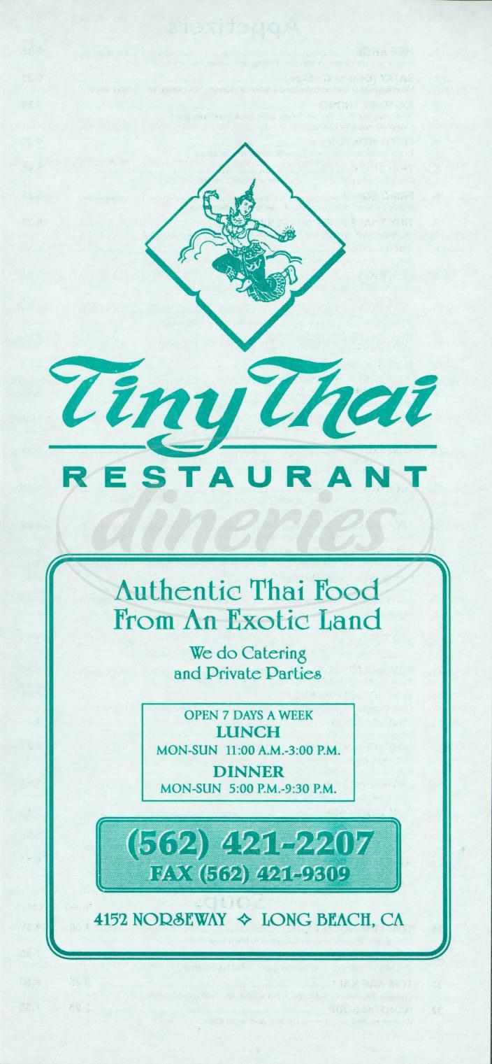 menu for Tiny Thai Restaurant