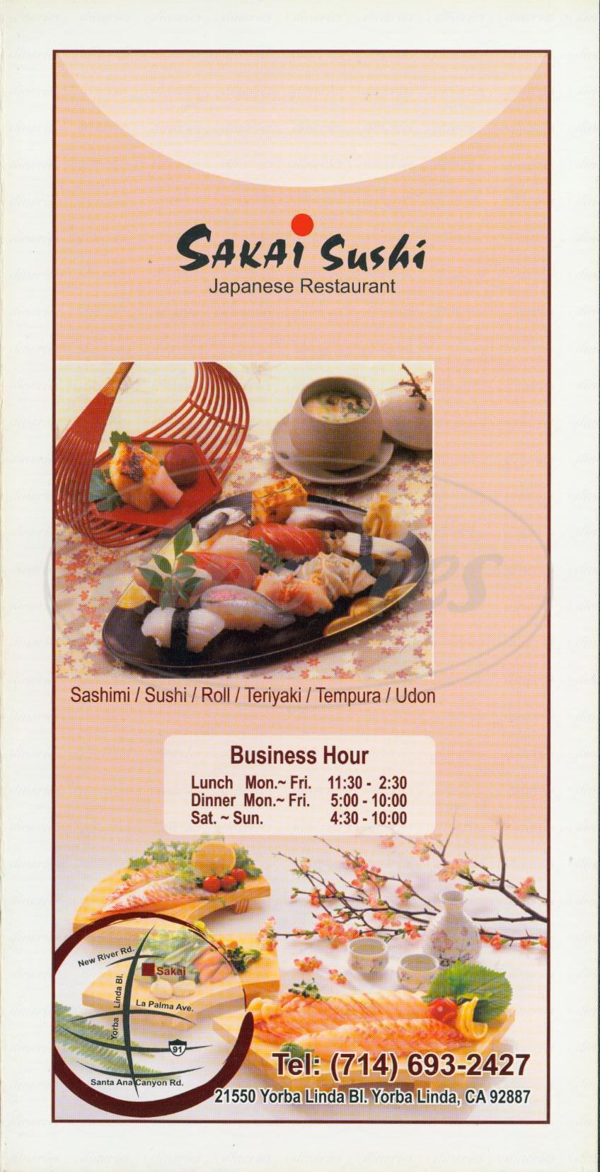menu for Sakai Sushi