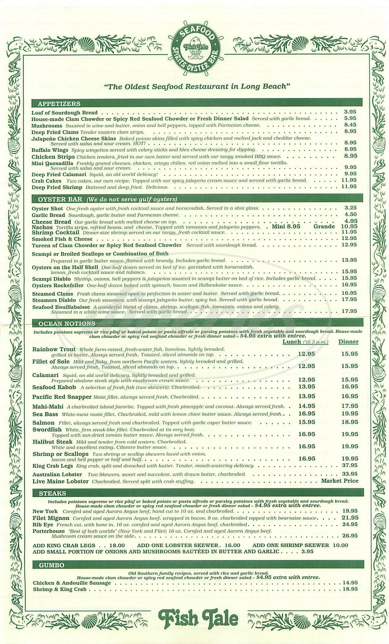 menu for The Fish Tale