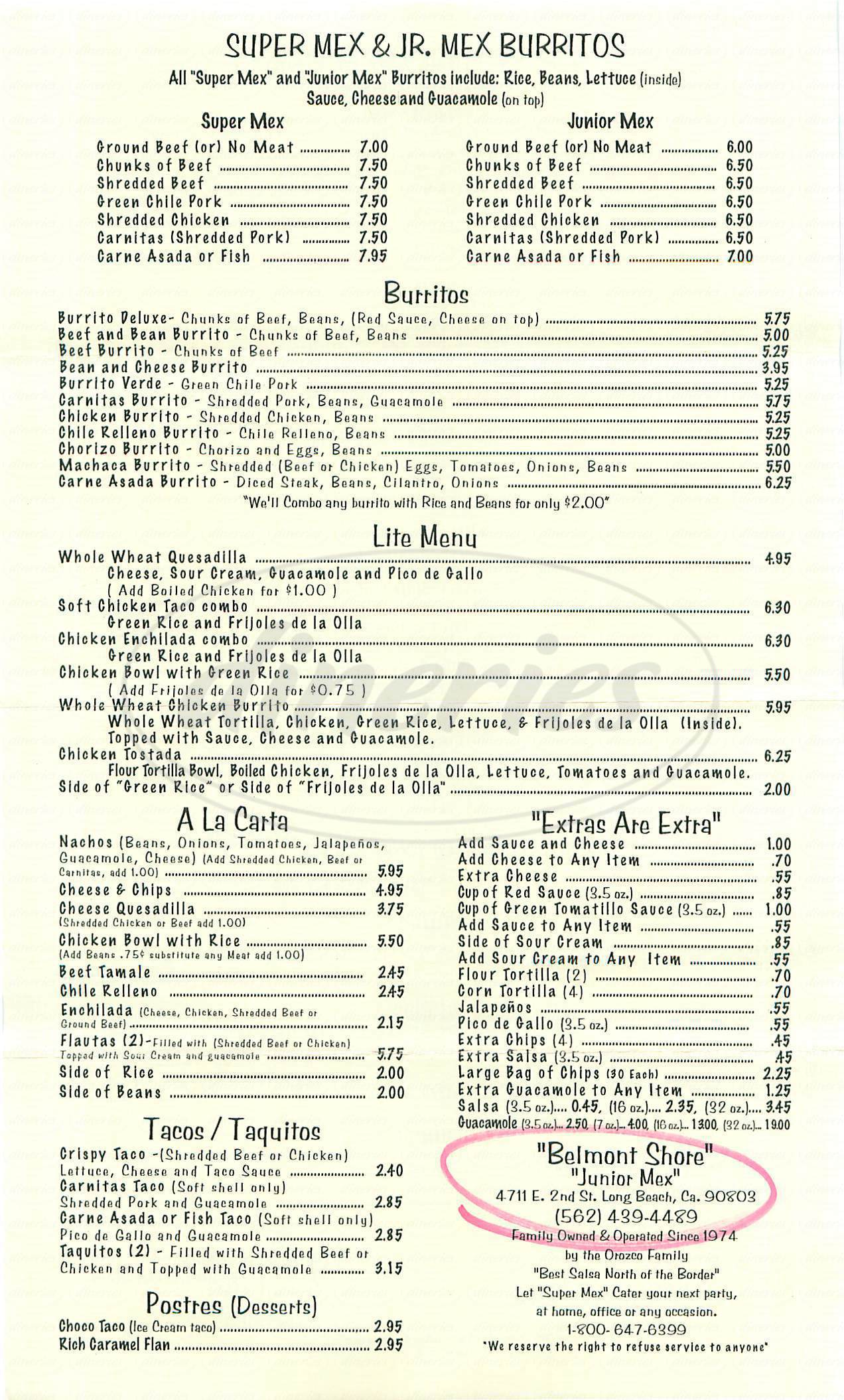 menu for Super Mex
