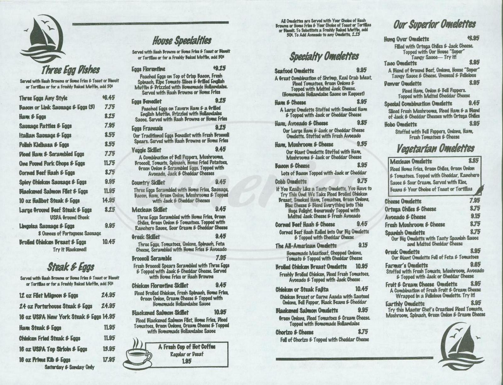 menu for Long Beach Cafe
