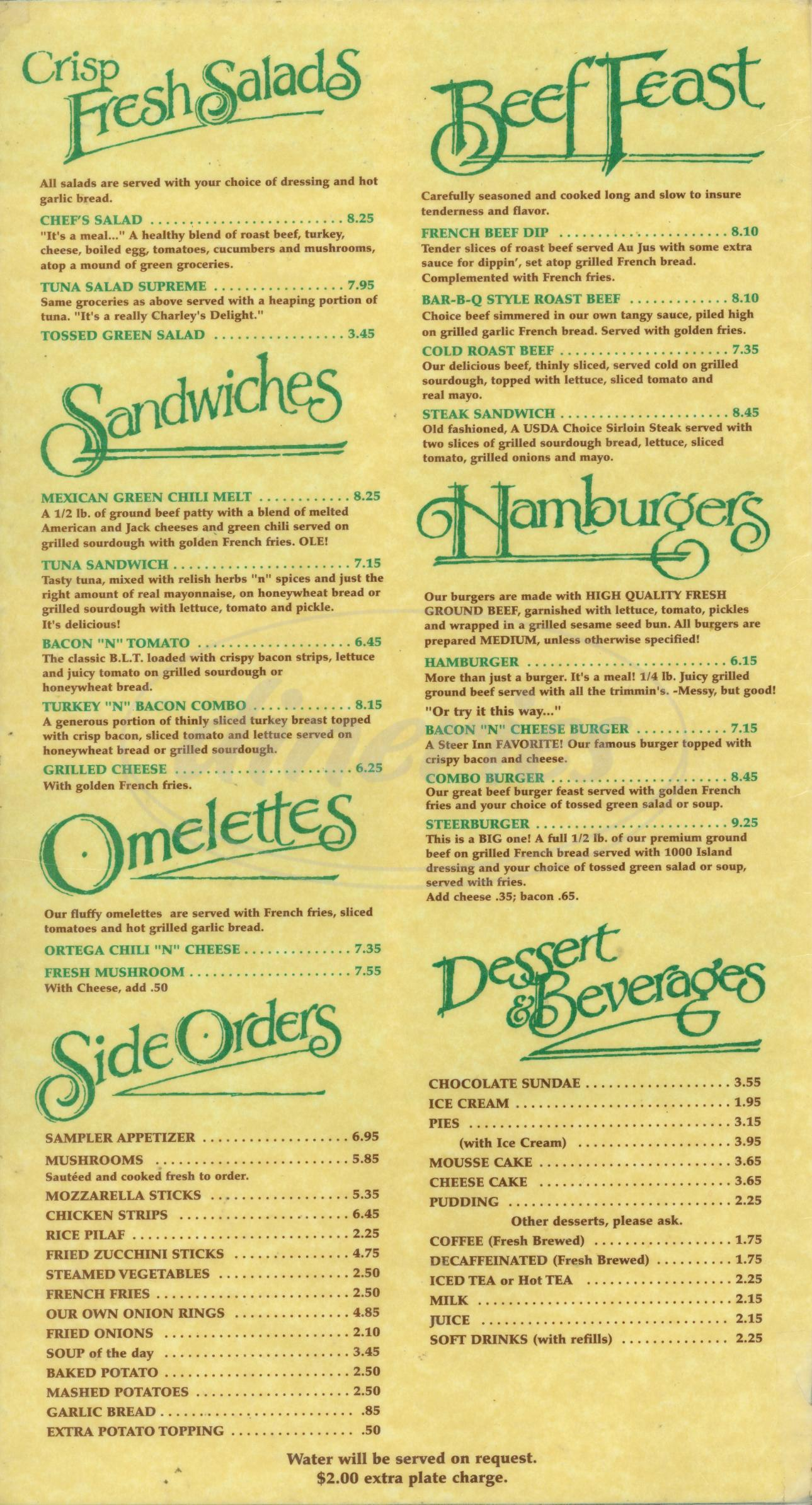 menu for Steer Inn