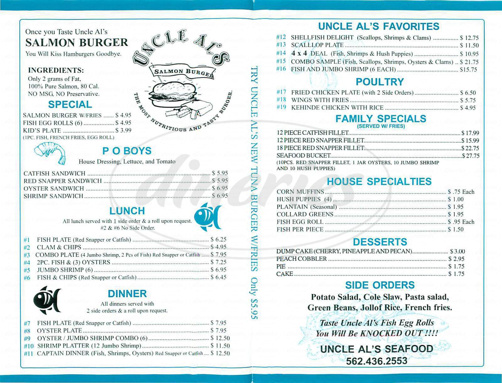 menu for Uncle Al's Seafood