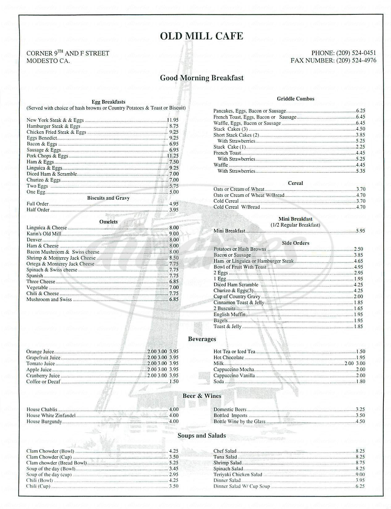 menu for Old Mill Cafe