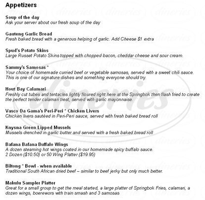 menu for Springbok