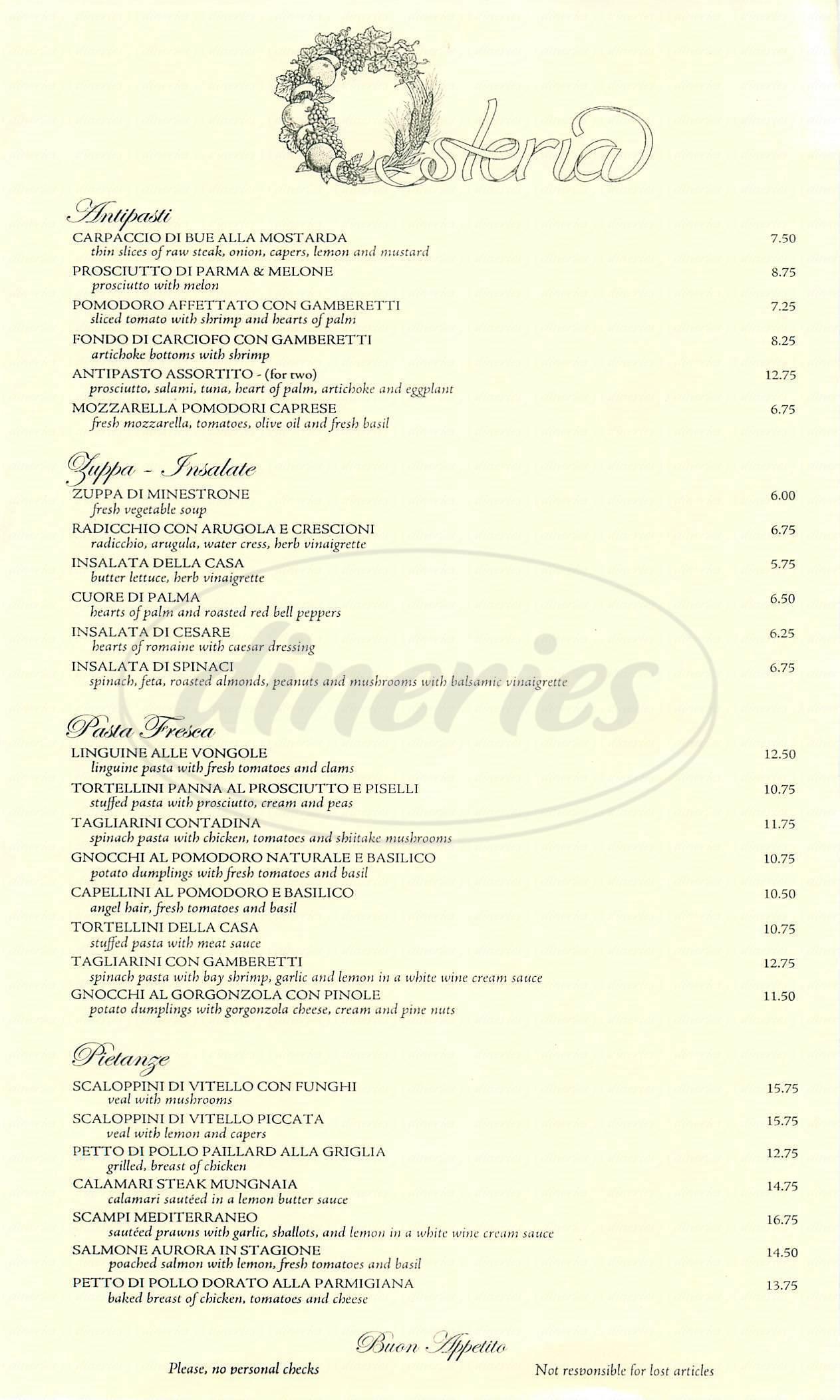menu for Osteria